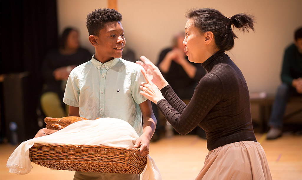 jamai brown and sue jin song in rehearsals for a christmas carol photo by matt pilsner