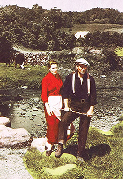 Maureen O'Hara and John Wayne on the set of The Quiet Man.